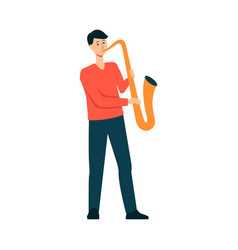 man is playing saxophone cartoon style vector image
