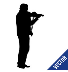 man silhouette playing violin on white vector image