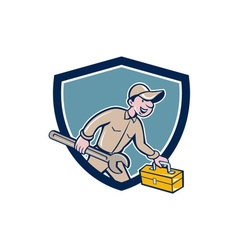 Mechanic Carrying Toolbox Spanner Shield Cartoon vector image