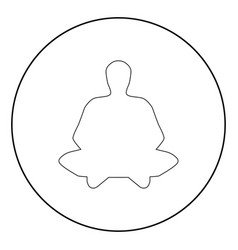 meditation man the black color icon in circle or vector image
