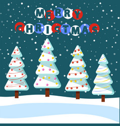 merry christmas greeting card with pine trees vector image
