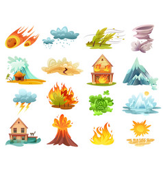 natural disasters cartoon icons set vector image