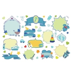 Newborn Baby boy badgeslabels set Baby shower vector