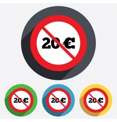 No 20 euro sign icon eur currency symbol vector