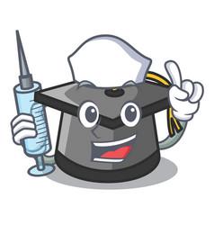 nurse graduation hat character cartoon vector image