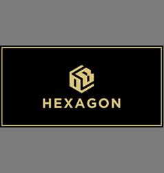 ob hexagon logo design inspiration vector image
