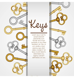 old keys on white background with space for text vector image