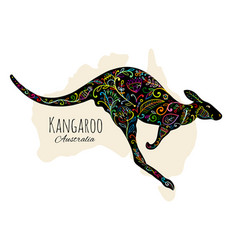 ornate kangaroo sketch for your design vector image