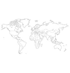 Outlined map world vector