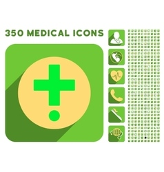 Pharmacy Icon and Medical Longshadow Icon Set vector image