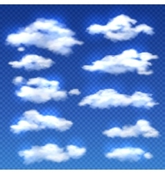 Realistic clouds isolated on checkered vector image