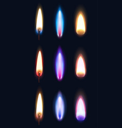 realistic flames dark background vector image