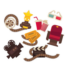 Retro cinema movie theater icons movie vector