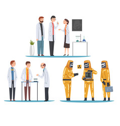 scientists assistants people doing research vector image