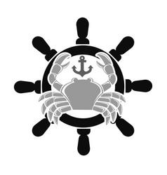 Sea club emblem with crab and handwheel vector