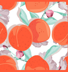 Seamless peach with flowers vector