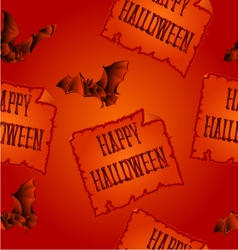 Seamless texture Happy Halloween and bats vector image