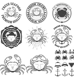 Set crabs labels fresh seafood vector