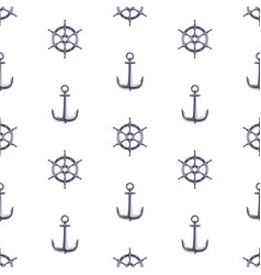 ship wheel and anchor pattern vector image