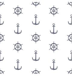 ship wheel and anchor pattern vector image