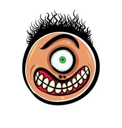 Shocked cartoon face with one eye vector image