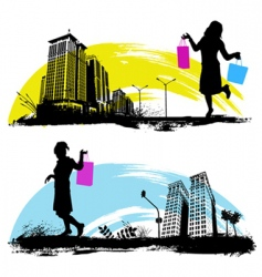 shopping in city vector image