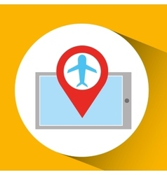 Smartphone e-commerce airplane pin map vector