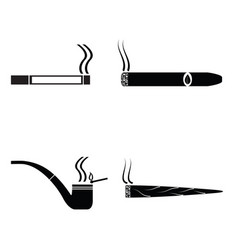 smoking silhouette icons set vector image