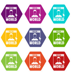 social world icons set 9 vector image