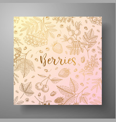 square golden card with berries eco organic food vector image