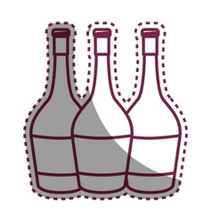 Sticker wine bottles taste beverage vector