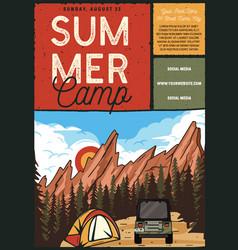 Summer camp flyer a4 format camping adventure vector