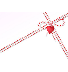 valentine day background with rope and heart vector image
