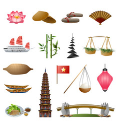 Vietnam icons set cartoon style vector