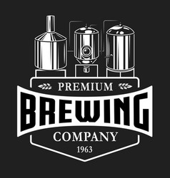 Vintage brewery monochrome logo template vector