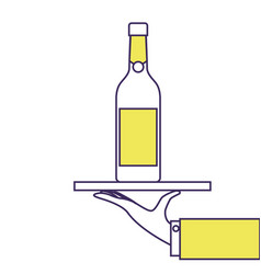 waiter hand holding tray with wine bottle vector image