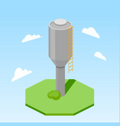 Water tower building isometric vector