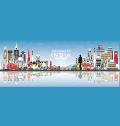 welcome to india city skyline with color vector image