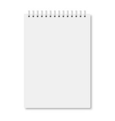 White realistic a5 notebook closed with shadows vector