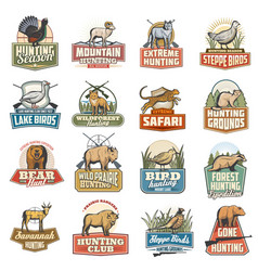 Wild animals and birds hunting sport icons vector