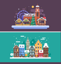 Winter City and Christmas Market vector