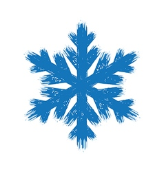 Winter hand drawn grunge brush stroke snowflake vector image