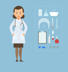 women doctor md in a white coat and medical vector image vector image