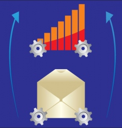 graph and letter on gear vector image vector image