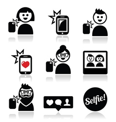 Man woman taking selfie with mobile or cell phone vector image vector image
