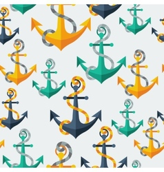 Nautical seamless pattern with anchors and rope vector image vector image