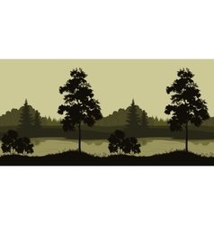 Seamless Landscape Trees and River vector image vector image