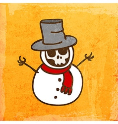 Skeleton Disguised as a Snowman Cartoon vector image