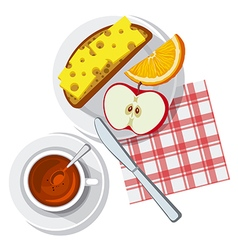 breakfast on table vector image vector image