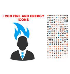 burn businessman head icon with bonus flame vector image
